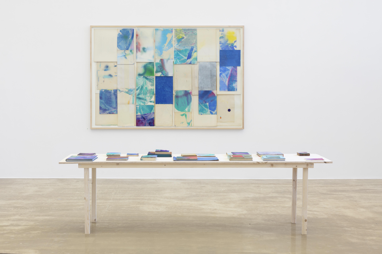 """""""Den blå planet"""" 2019 140x260 collage med funnet papir, oljepastell, tusj, blyant og spraymaling"""