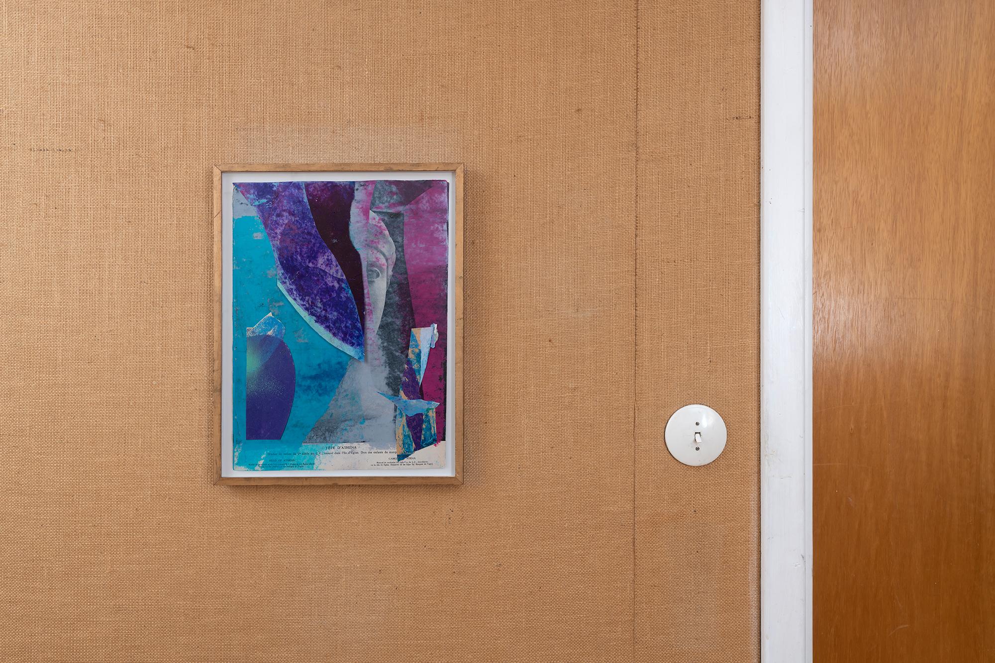"""""""Athena"""" 2020 oilpastel on found paper artist frame 34x43 cm"""