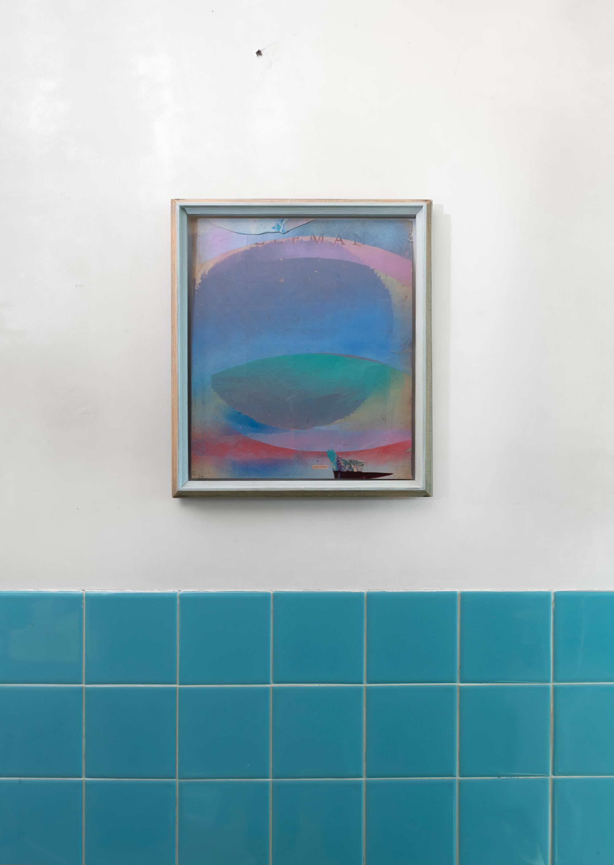 """""""Planet"""" 2020 oilpastel on found paper artist frame"""