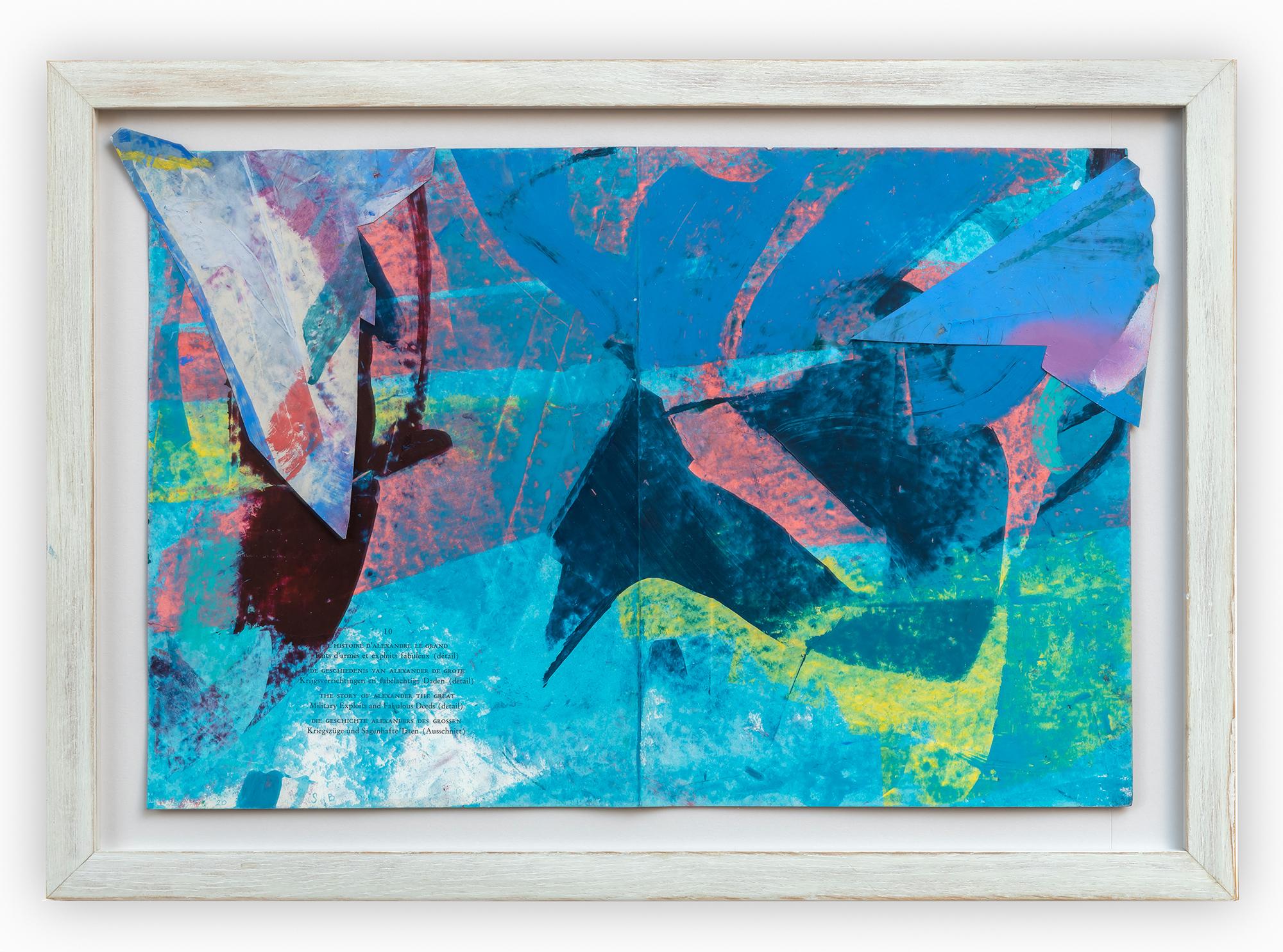 """Histoire d'Alexandre le grand"" 2020 oilpastel on found paper collage 43x60 cm artist frame"