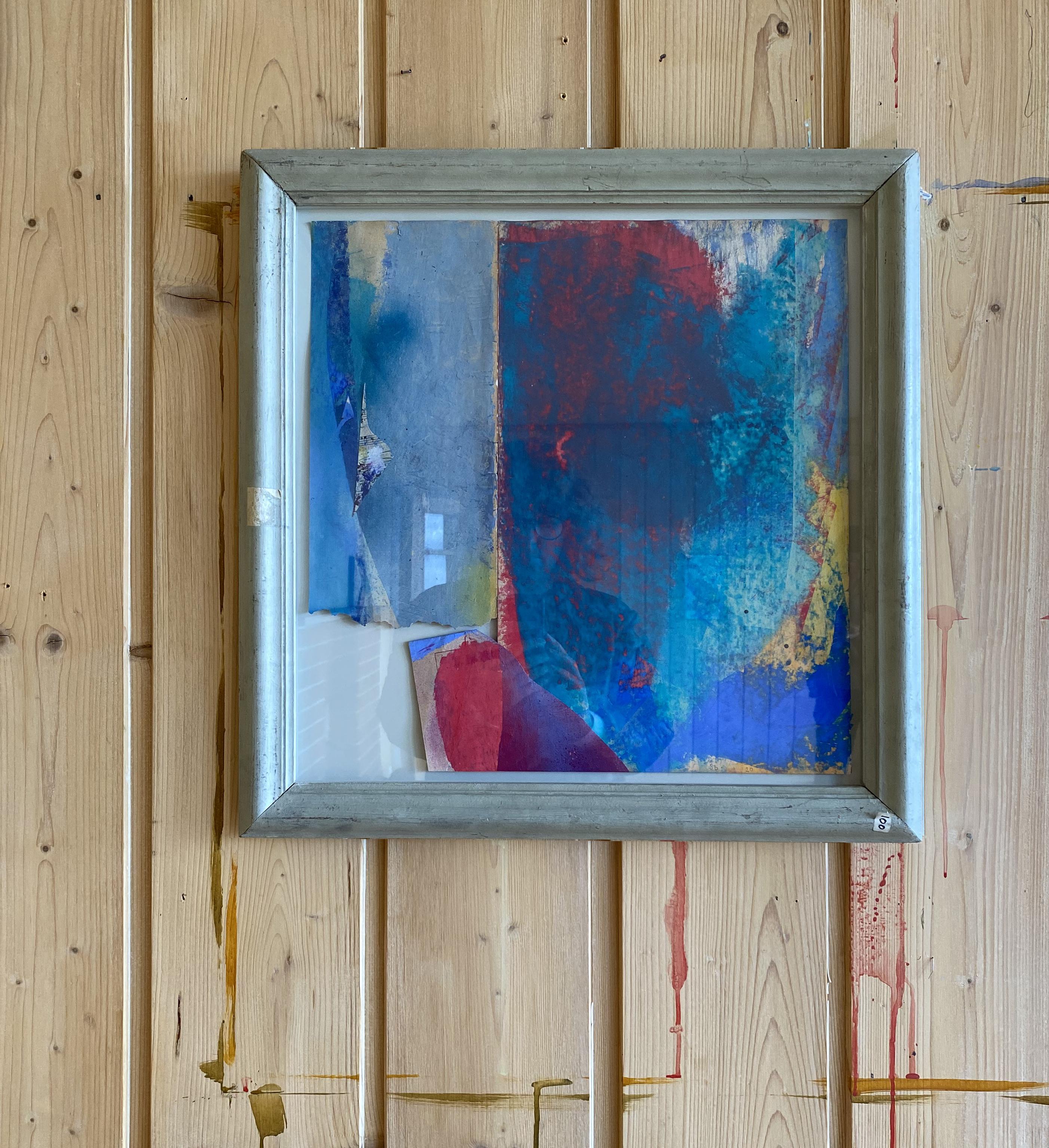 """""""Eple"""" 2020 oilpastel on found paper collage 52x54 cm artist frame"""