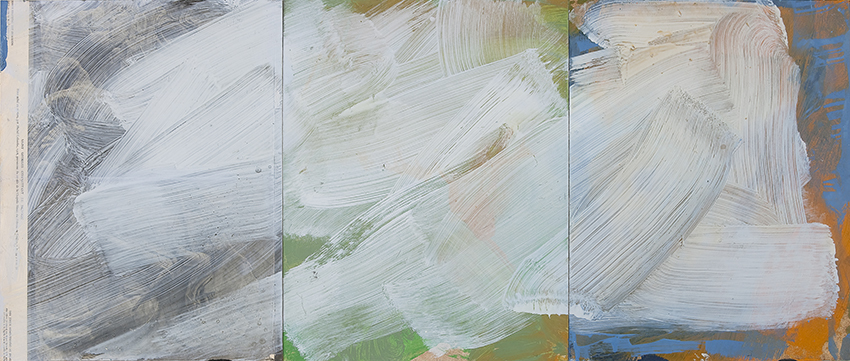 Oil on found paper mounted on wood, 120 x 50 cm