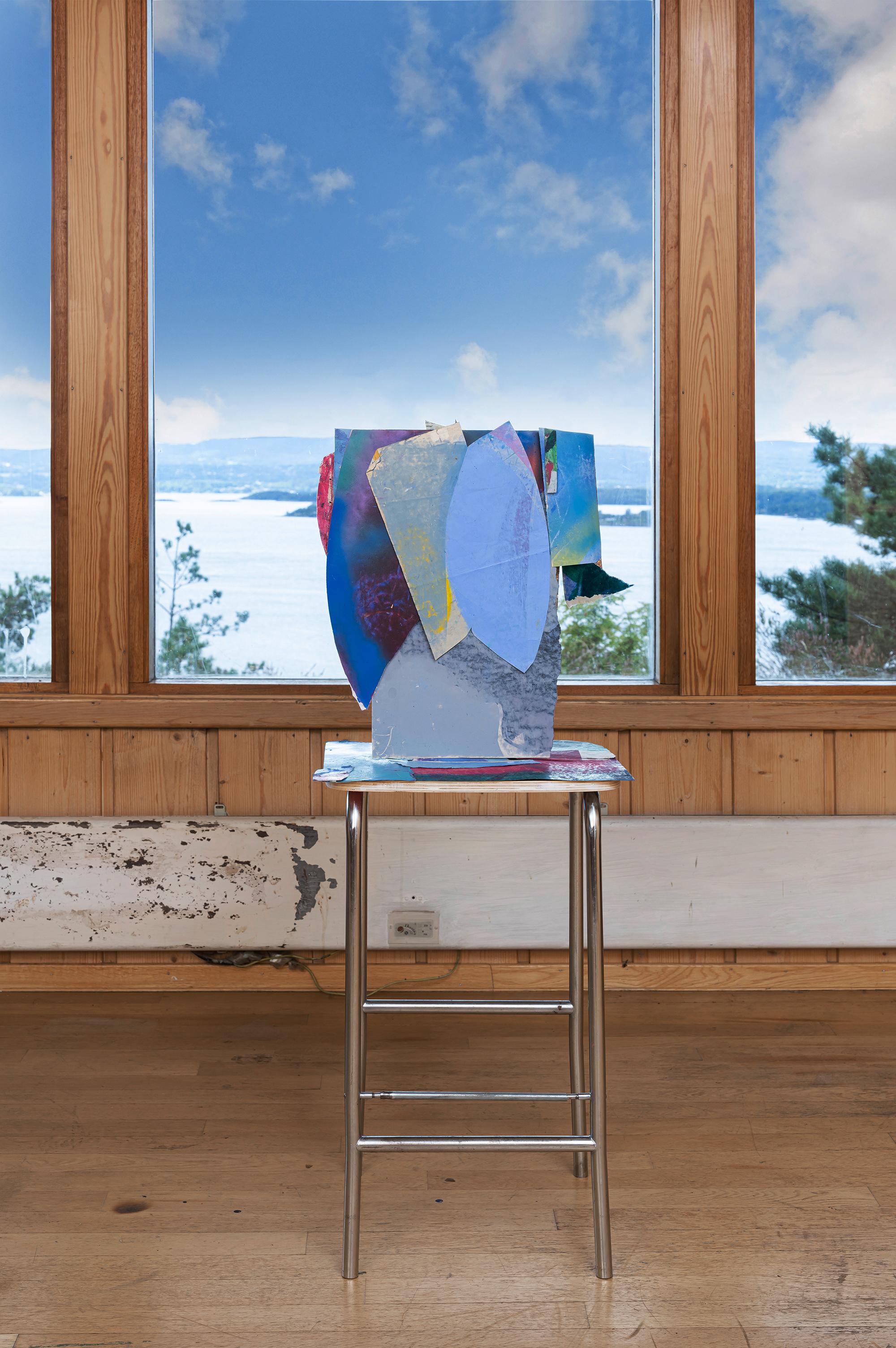 """""""Wien"""" 2020 oilpastel on paper collage sculpture 104x37x30 cm"""