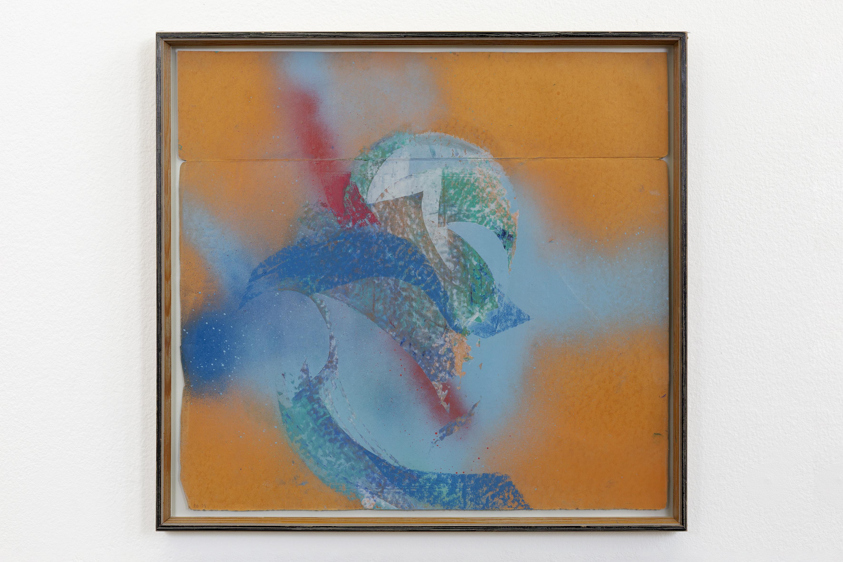 """""""Studie av himmelen over Høvåg IV"""" 2019 42x44 cm  oilpastel & spraypaint on found paper in artist frame"""
