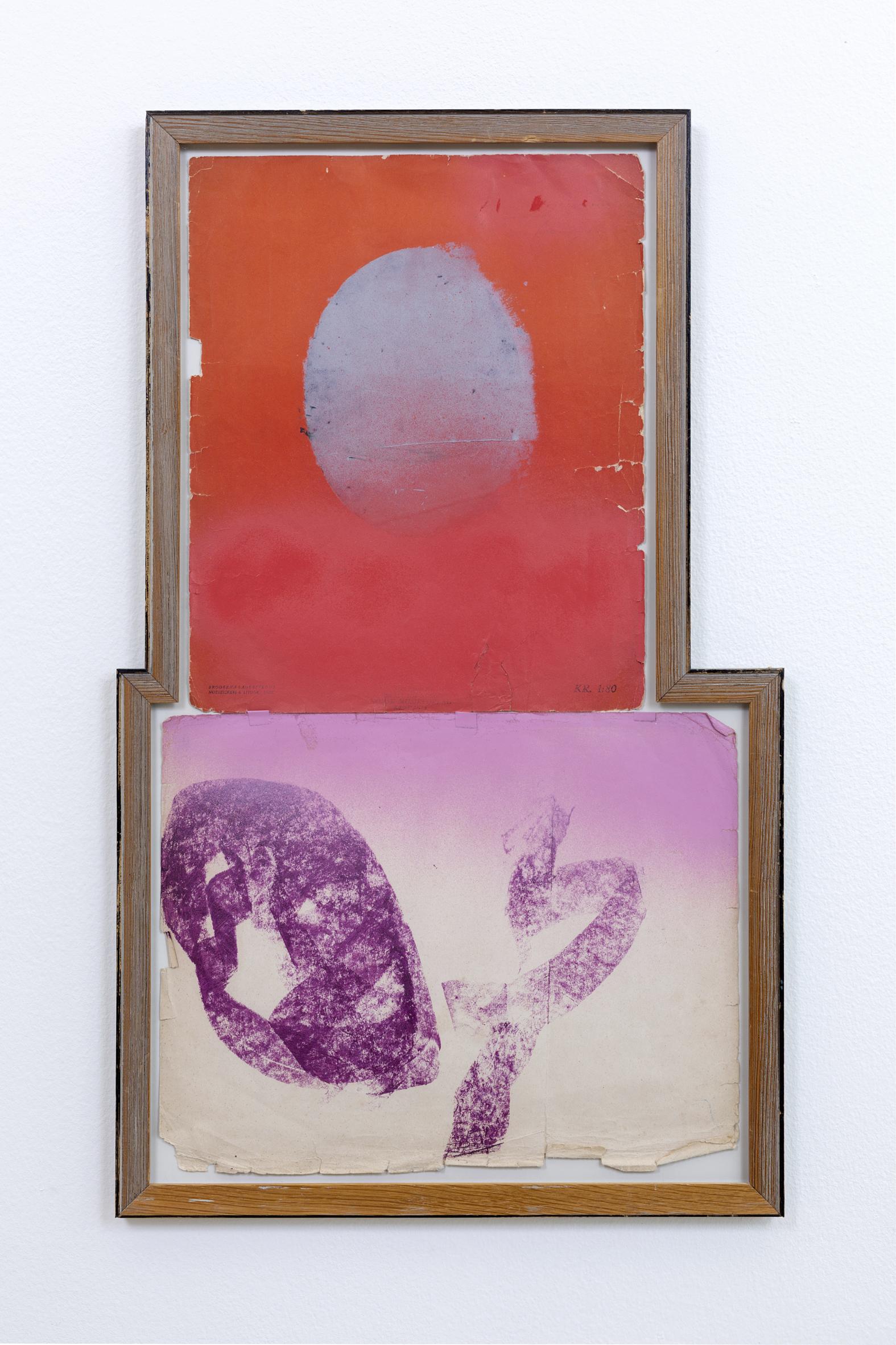"""""""Studie av himmelen over Høvåg I"""" 2019 39x64 cm  oilpastel & spraypaint on found paper in artist frame"""